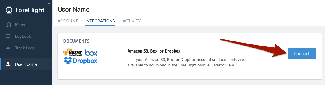 How do I link my Dropbox to ForeFlight Mobile for document